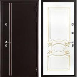 Уличная входная дверь с терморазрывом Норд Аристократ (Муар коричневый / Эмаль белая)