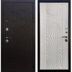 Входная дверь Ратибор Витраж 3К (Орех премиум / Лиственница беж)