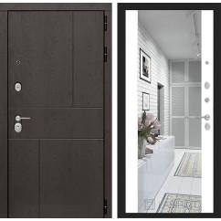 Входная металлическая дверь Лабиринт Урбан с Зеркалом Максимум (Белый софт)