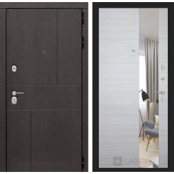Входная металлическая дверь Лабиринт Урбан с Зеркалом (Акация светлая)