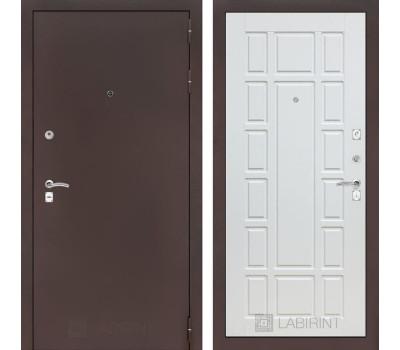 Входная металлическая дверь Лабиринт Классик 12 (Антик медный / Белое дерево)