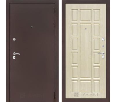 Входная металлическая дверь Лабиринт Классик 12 (Антик медный / Дуб беленый)