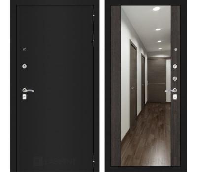 Входная дверь Лабиринт Классик с Зеркалом Максимум (Шагрень черная / Венге)
