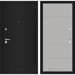 Входная дверь Лабиринт Классик 13 (Шагрень черная / Грей софт)