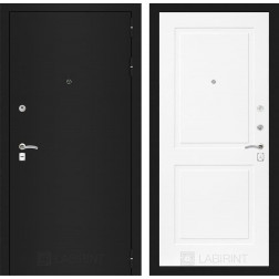 Входная дверь Лабиринт Классик 11 (Шагрень черная / Белый софт)