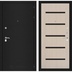 Входная дверь Лабиринт Классик 1 (Шагрень черная / Дуб белёный)