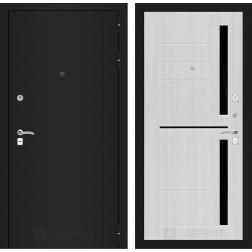 Входная дверь Лабиринт Классик 2 (Шагрень черная / Сандал белый)
