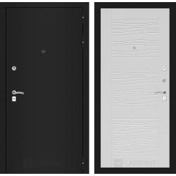 Входная дверь Лабиринт Классик 6 (Шагрень черная / Белое дерево)