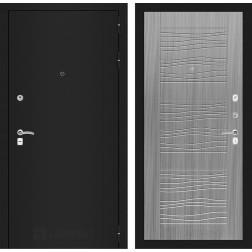 Входная дверь Лабиринт Классик 6 (Шагрень черная / Сандал серый)