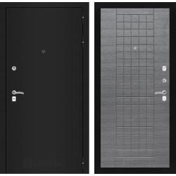 Входная дверь Лабиринт Классик 9 (Шагрень черная / Лен сильвер грей)