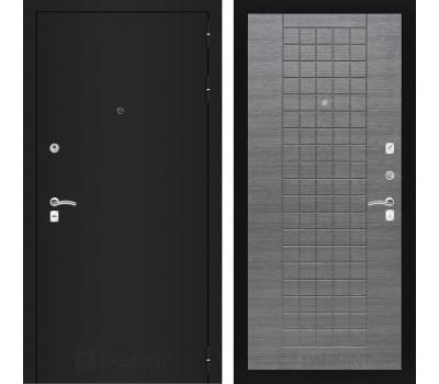 Входная металлическая дверь Лабиринт Классик 9 (Шагрень черная / Лен сильвер грей)