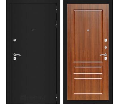 Входная металлическая дверь Лабиринт Классик 3 (Шагрень черная / Орех бренди)