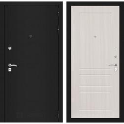 Входная дверь Лабиринт Классик 3 (Шагрень черная / Сандал белый)