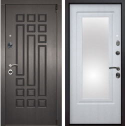 Входная дверь Милан 3D Зеркало (Венге патина / Белая патина)