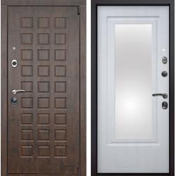 Входная металлическая дверь Верона Зеркало (Тиковое дерево / Белая патина)