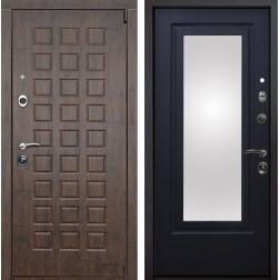 Входная металлическая дверь Верона Зеркало (Тиковое дерево / Венге патина)