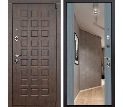 Входная металлическая дверь Верона Зеркало Премиум (Тиковое дерево / Сандал серый)