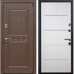 Входная металлическая дверь Сарбона Молдинг (Орех патина / Белая патина)