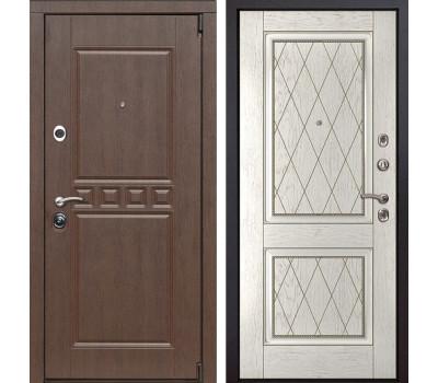 Входная металлическая дверь Сарбона 72 (Орех патина / Капучино)