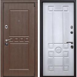 Входная металлическая дверь Сарбона Рим (Орех патина / Белый с патиной)