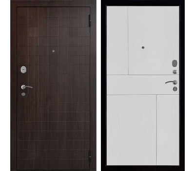 Входная металлическая дверь Вектор Статус Fusion (Орех тёмный / Ясень белый)