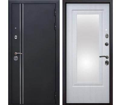 Входная металлическая дверь Квадро Лайн Зеркало (Искра черная / Белая патина)