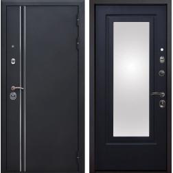 Входная металлическая дверь Квадро Лайн Зеркало (Искра черная / Венге патина)