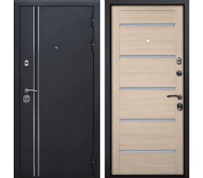 Входная металлическая дверь Квадро Лайн X7 (Искра черная / Капучино Мелинга)
