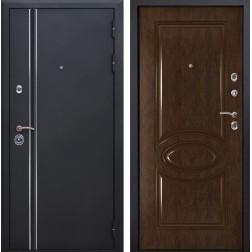 Входная металлическая дверь Квадро Лайн 70 (Искра черная / Каштан)