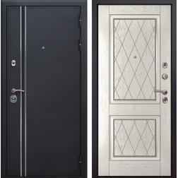 Входная металлическая дверь Квадро Лайн 72 (Искра черная / Капучино)