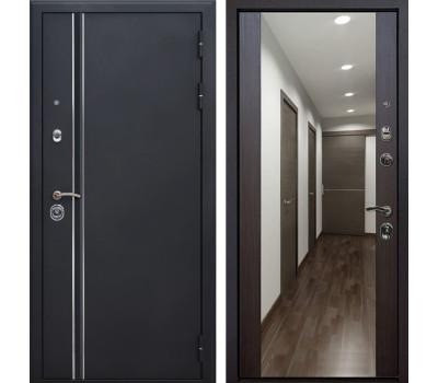 Входная металлическая дверь Квадро Лайн Зеркало Премиум (Искра черная / Венге)