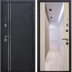 Входная дверь Квадро Лайн Зеркало Премиум (Искра черная / Капучино)