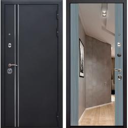 Входная дверь Квадро Лайн Зеркало Премиум (Искра черная / Сандал серый)