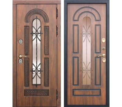 Уличная входная дверь с терморазрывом Витра с окном и ковкой (Грецкий орех)