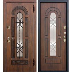 Входная металлическая дверь со стеклопакетом и ковкой Виконт (Грецкий орех)