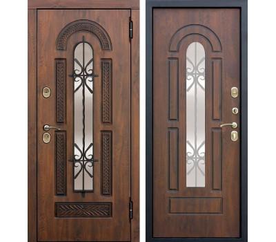 Уличная входная дверь со стеклопакетом и ковкой Виконт (Грецкий орех / Грецкий орех)