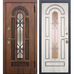 Входная дверь со стеклопакетом и ковкой Виконт (Грецкий орех / Сосна белая)