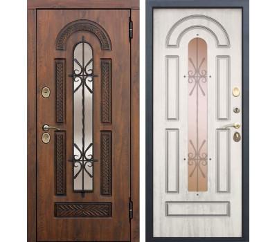 Уличная входная дверь со стеклопакетом и ковкой Виконт (Грецкий орех / Сосна белая)