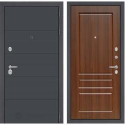 Входная металлическая дверь Лабиринт Арт 3 (Графит софт / Орех бренди)