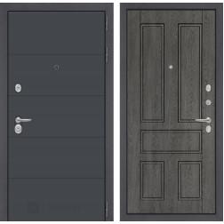 Входная металлическая дверь Лабиринт Арт 10 (Графит софт / Дуб филадельфия графит)
