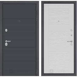Входная металлическая дверь Лабиринт Арт 6 (Графит софт / Белое дерево)