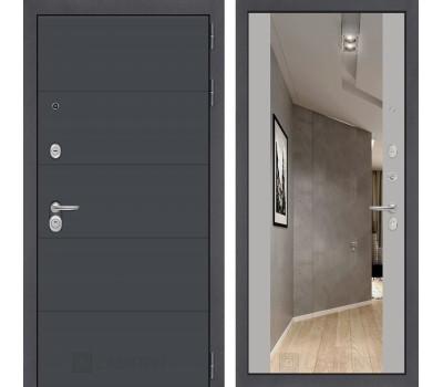 Входная металлическая дверь Лабиринт Арт с Зеркалом Максимум (Графит софт / Грей софт)