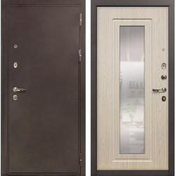 Входная металлическая дверь Лекс 5А Цезарь с Зеркалом Дуб беленый (панель №23)