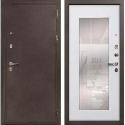 Входная металлическая дверь Лекс 5А Цезарь с Зеркалом Ясень белый (панель №37)