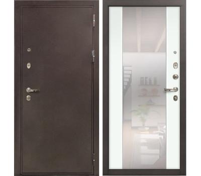 Входная металлическая дверь Лекс 5А Цезарь Стиль с Зеркалом Ясень белый (панель №61)
