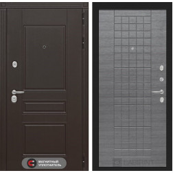 Входная металлическая дверь Лабиринт Мегаполис 9 (Лен сильвер грей)