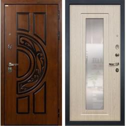 Входная металлическая дверь Лекс Спартак Cisa с Зеркалом Белёный дуб (панель №23)