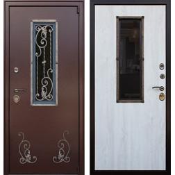 Уличная дверь со стеклопакетом и ковкой Престиж (Молоток шоколад / Сосна белая)