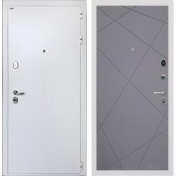 Входная дверь Интекрон Колизей White Лучи-М (Белая шагрень / Софт Графит)