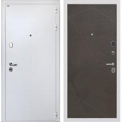 Входная дверь Интекрон Колизей White Лучи-М (Белая шагрень / Венге распил кофе)